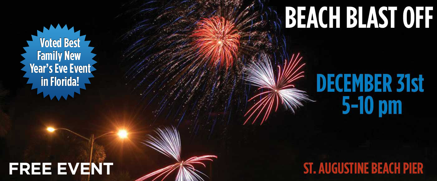 St. Augustine Beach Pier, Beach Blast Off 2016, beach blast off, city of st. augustine beach events, st. augustine beach fireworks, beach fireworks, SAB events, st. johns county pier, st. augusitne beach pier park, new years fireworks at the beach