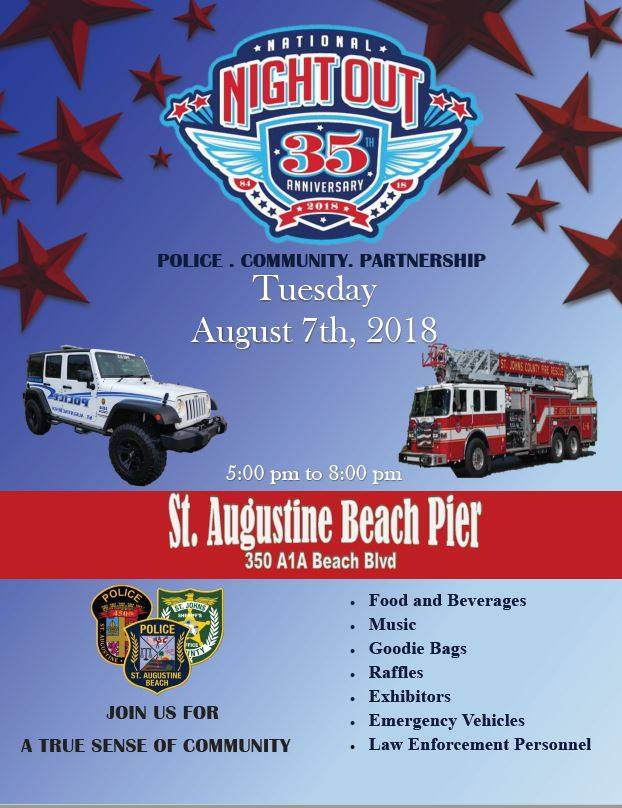 St. Augustine Beach Pier, St. Johns County Pier, Beach events, National Night Out, Family events, Florida Beaches, Vilano Beach