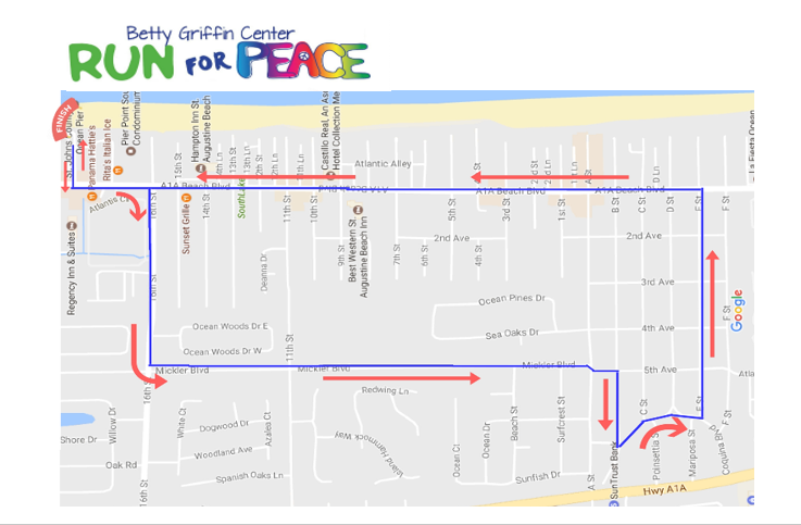 St. Augustine Beach Pier, Betty Griffin Center, St. Augustine Beach, Beach Parking, Website Design, Run for Peace 5K